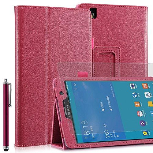 Invero® Premium Hülle Ledertasche umfasst Ständer Feature, Displayschutzfolie und Eingabestift Kugelschreiber für Samsung Galaxy Tab Pro 8,4 Zoll SM-T320 SM-T325 (Rosa / Pink) (Pink Screen Protector 5s)