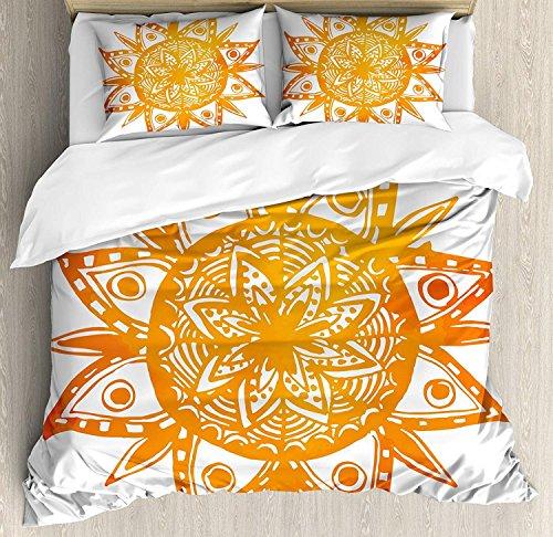 Orange 3-teiliges Bettwäscheset Bettbezug-Set, handgezeichnete Sonnenfigur im Aquarellstil, Stammes-Ethno-Mandala, künstlerischer asiatischer Druck, 3-TLG. Tröster- / Qulitbezug-Set mit 2 Kissenbezüg -