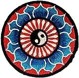 Beautiful Blue Lotus Yin Yang Yin And Yang Yoga Inspiration Meditation Spiritual Hindu Symbol Hippie Patch ''8 x 8 cm'' - Embroidered Iron On Patches Sew On Patches Embroidery Applikations Applique
