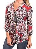 Damen Freizeit Lange Ärmel V-Ausschnitt Blumen Bluse Elegante Frauen Tunika Oberteile Vintage Hemd T-Shirt (Rot-Sonnenblume, XL/EU 44-46)