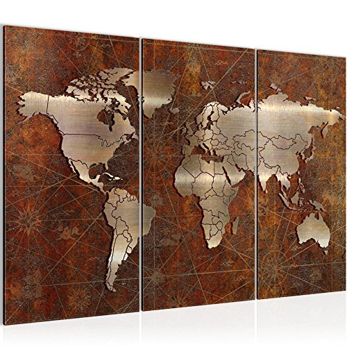 Tableau decoration murale Carte du monde 120 x 80 cm XXL Impression sur Toile Salon Appartment Marron 3 Parties - prêt à accrocher 109031a