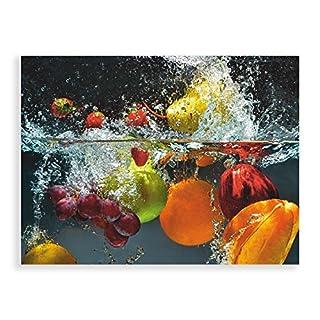 Artland Qualitätsbilder I Glasbilder Deko Glas Bilder Größe 60x45 cm Genuss Obst Foto Bunt D1GJ Spritzendes Obst auf Dem Wasser