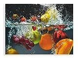 Artland Qualitätsbilder I Glasbilder Deko Glas Bilder Größe 80x60 cm Genus Obst Foto Bunt D1GJ Spritzendes Obst auf Dem Wasser