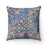 Fliesen Mosaik Spanisch Marokkanische Kissen–maurischen Arabesque Style-Kissenbezug Home Decor Kissen blau 43x 43cm