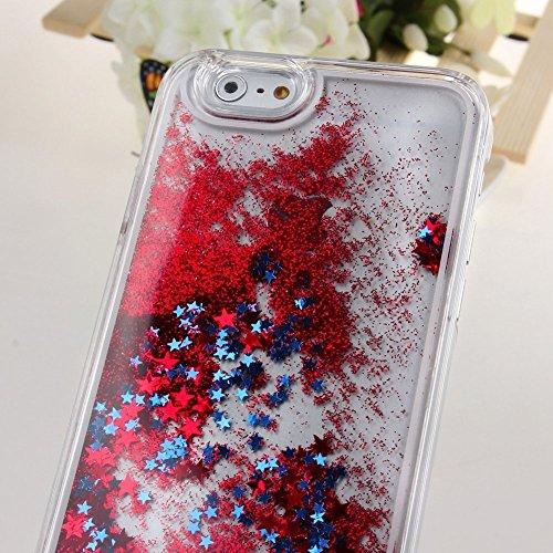 nnopbeclik iPhone se 55S Liquido per cellulare trasparente Custodia trasparente lucido 3d e glitter star stelle liquido con liquido Custodia Bumper Cover Case Custodia trasparente Crystal Case Custod rosso