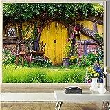 Xbwy Tapete 3D Custom Romantic Chalet Garten L Sofa Hintergrund Wohnzimmer Restaurant Café Lobby Tapete-350X250Cm