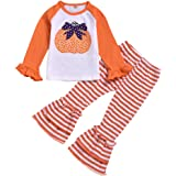 Moneycom❤Toddler Baby Girls Halloween Citrol Tops Manga Larga + Pantalones Rayas Pantuflas Cumpleaños Chic Ceremonia Boda 201