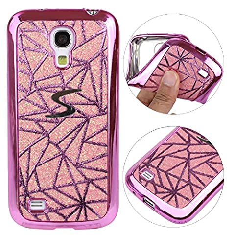 Schutzhülle Samsung I9190 Soft Backcover Rosa Schleife Glitzer Case Hülle für >Samsung Galaxy S4 MINI< aus weich TPU Silikon mit Bling Design in