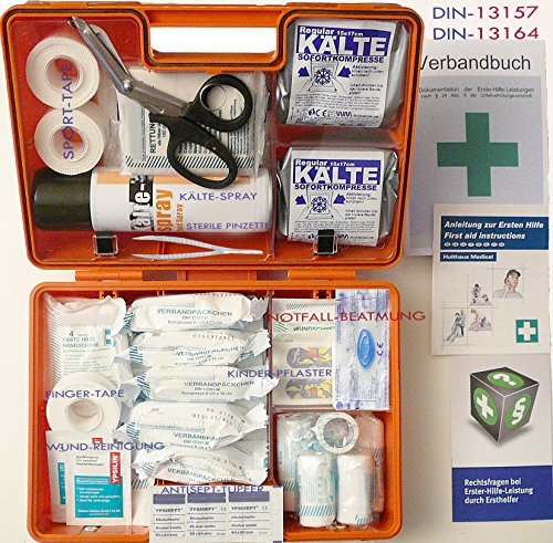 Sport-Sanitätskoffer PLUS 1 Erste-Hilfe Koffer DIN 13157 + 13164 + Sport-Ausstattung mit Kälte-Behandlung + Sporttape