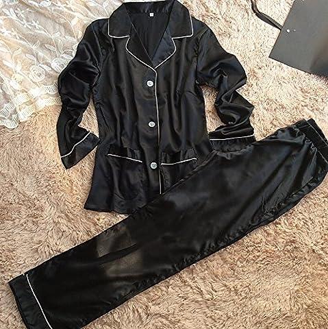 MH-RITA Frau Sommer Eis Seide silk Pyjamas Slim Langarm Hosen Cardigan Anzug Anzug zwei Heimtextilien und Südkorea m schwarz