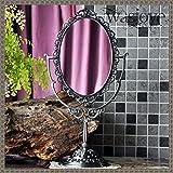 Grande stile europeo specchio alta qualità Retro Double-sided rotante Principessa sveglia desktop trucco Specchio da toilette ( Colore : Antico stagno )