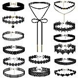15 Stück Choker Halsketten Set , OIDEA Halsband Tattoo Kette Schmuck Set Damen Schmuck Velvet Halskette Tattoo Halsband Schwarz