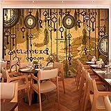 Wiwhy Gewohnheit 3D Wandbild Retro Abstrakte Caférestaurantraumhintergrundtapete Alte Taschenuhr-Federtapetenwandgemälde-200X140Cm