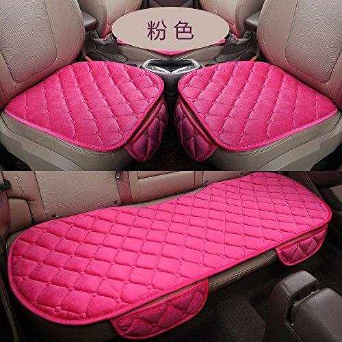 Sedeta Automobile Intérieur Voiture Véhicule Avant Arrière Seat couvre protecteur Set Coussin Tapis Silk Velvet Automotive Intérieur Décor pour la famille du conducteur couverture de chaise rose
