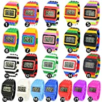 v_esafe Unisex Jungen mädchen LED Regenbogen elektronische sportuhren multifunktionale silikonband armbanduhren Student Geschenk (Random)