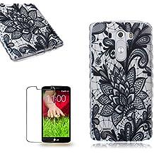 LG G3 Funda [Regalos gratis protector de pantalla],Funyye goma gel de silicona suave transparente ultra fina de TPU Hermosa (Encaje negro) Diseño cubierta trasera del caso carcasa protector del patrón para LG G3