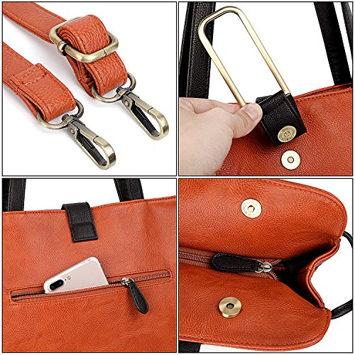 UTo Damen Handbag 2 Stücke Set Shopper Bag Briefcase Stil Satchel mit klein Crossbody Schultertasche Pink Orange