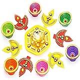 Ghasitaram Gifts Diwali Gifts Diwali Rangolis Yellow Acrylic Diya Rangoli With Diyas