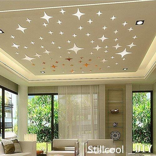 Stillcool_DIY (TM) * 8.5cm 50pcs Estrellas Bling-bling cristal engomadas de la pared 3D se dirigen la etiqueta de habitación tema murales de papel regalo de la decoración DIY acrílico extraíble Espejo decorativo de