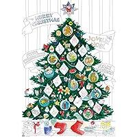 OMY Poster géant à colorier Sapin de Noel format encadrable (70 x 100 cm) + stickers phosphorescents