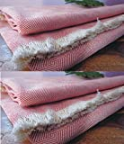 Style Urban 100% Cotton Beautiful Red Color Single Bed Size Skin Friendly Summer Khadi Blanket / Khes / Dohar / Top Sheet set of 2 Pcs.