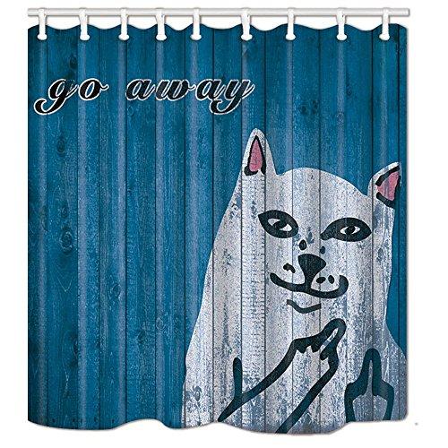 Joneaj dito medio gatto cartone animato modello di moda importato poliestere impermeabile tessuto tenda della doccia durata 71x71 pollici facile da pulire 12 ganci in plastica