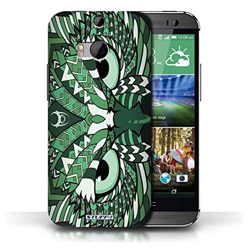 Coque de Stuff4 / Coque pour HTC One/1 M8 / Loup-Pourpre Design / Motif Animaux Aztec Collection Hibou-Vert