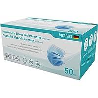 EUROPAPA 50x medizinische OP Maske 3-lagig Atemschutzmasken Typ IIR TÜV CE zertifiziert Chirurgische Einwegmaske Mund…