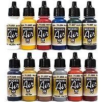 Airbrush Farben 12 x 17 ml Vallejo Model Air Basis Bunt Farben-Set Airbrushfarben
