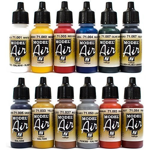 Preisvergleich Produktbild Airbrush Farben 12 x 17 ml Vallejo Model Air Basis Bunt Farben-Set Airbrushfarben