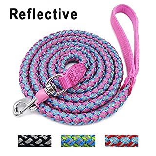 Mycicy Rope Dog Lead-Reflective Nylon Braided Mountain Climbing Pink Dog Leash Heavy Duty Dog Training Lead Leash for Large and Medium Dogs(6 feet/1.8m, Pink)
