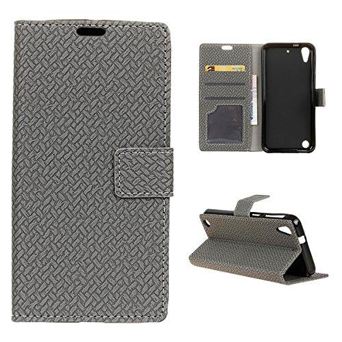 HTC Desire 530 630 Hülle, Forhouse [Magnetverschluss][Ultra Slim Fit] Flip Case Weave Pattern PU Leder Brieftasche Case mit Card Slots High Impact Shatter Resistant Ganzkörper Schutz [Flip Stand] Cover für HTC Desire 530 630 (Grau)