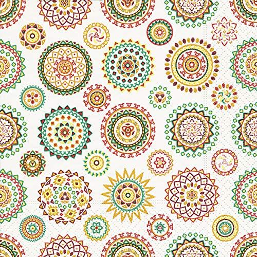 20 Servietten Farbige Rosetten/Muster / Kreise/neutral / zeitlos 33x33cm