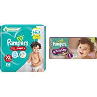 Pampers Diaper Pants, Xl, 56 Count&Pampers Active Baby Diapers, Large, 50 Count