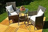 GoodView 3-TLG. Gartenmöbel-Set San Marino Balkon-Set Rattan (Tisch + 2 Sessel) Polyrattan Balkonmöbel-Set Gartenmöbelset Grau