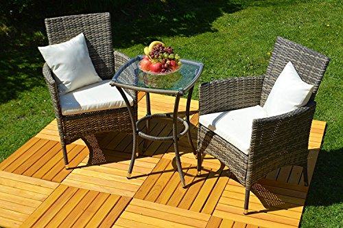 Balkon Bistro-Set Rattan (Tisch+2 Stühle) Bistrotisch mit Glasplatte und 2x BistroSessel Poly...