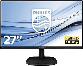 Philips 273V7QJAB/00 68 cm (27 Zoll) Monitor (VGA, HDMI, 5ms Reaktionszeit, DisplayPort, 1920 x 1080, 60 Hz) schwarz