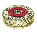 Meenakari velvet work traditional handmade round mukhvas box/ dry fruit box / Sweet box /chocolate box for festivals / Gift / wedding/ function royal place (Diameter : 25cm)
