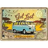 Nostalgic-Art 10223 Volkswagen - VW Bulli - Let's Get Lost | Blechpostkarte 10x14 cm | Grußkarte | Retro Postkarte