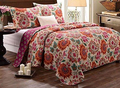 Babycare Pro Bohomian Stil Paisley und Blumen Print 3Patchwork Tagesdecke/Quilt Sets, 100% Baumwolle King Size Bett In Einer Tasche für Erwachsene (King-size-bett-tasche)