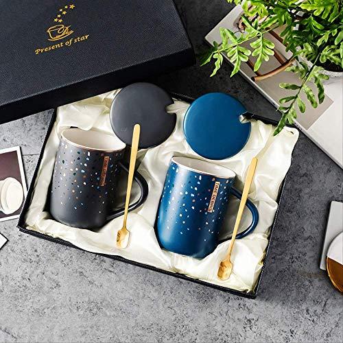 KYSM Keramikgeschenkbecher Geschenkverpackung Paar zum Becher mit Handgeschenk Eröffnungsbecher 400ml blau + grau