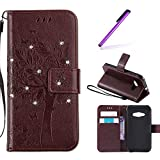 EMAXELERS Samsung Galaxy J1 Ace Hülle Glitzer Bling Wishing Tree Schmetterling PU Leder Flip Magnetisch Book Wallet Brieftasche Hülle für J1 Ace SM-J1 Ace 4.3-Inch,Brown Wishing Tree with Diamond