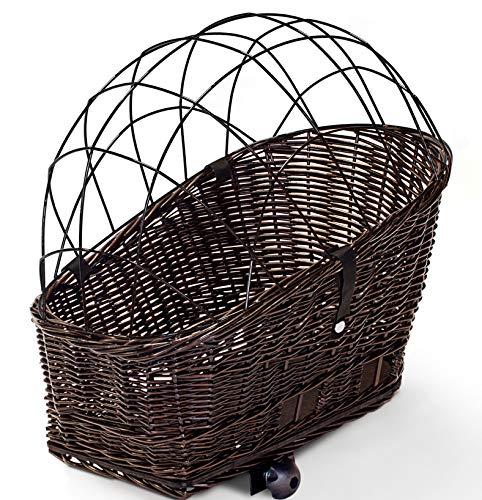 Tigana - Hundefahrradkorb für Gepäckträger aus Weide 60 x 39 cm + Metallgitter, Kissen Tierkorb Hinterradkorb Hundekorb - BRAUN (B-S)