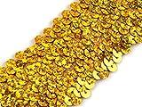Stoffe-Online-Shop Stretch-Pailletten, Paillettenband, Paillettenborte elastisch, mit Hologramm-Effekt in Gold, Silber, rot und blau erhältlich, Breite 45mm, VE: 1m (Gold)