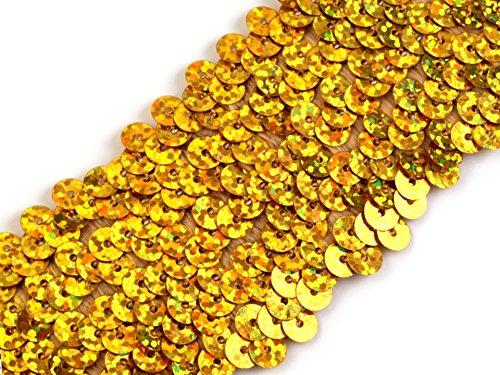 Stretch-Pailletten, Paillettenband, Paillettenborte elastisch, mit Hologramm-Effekt in gold oder silber erhältlich, Breite 45mm, VE: 1m (Gold) (Hologramm-stoffe)