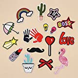 #7: Fancyku Embroidered Patches Iron on Patch Sew on Patch Sticker Applique Badge for Arts Crafts DIY Decor 16 Pcs