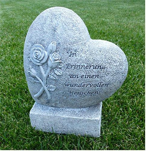 °Grabschmuck Herz mit Rose auf Sockel *In Erinnerung an...* grau-antik H 20 cm