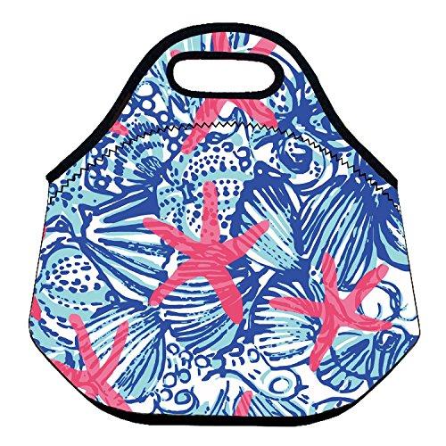 zmvise Funny Seestern Muster Isolierte Lunch Tote wiederverwendbar Picknick Lunchpaket Boxen für Herren Frauen Erwachsene Kinder Kleinkinder Krankenschwestern