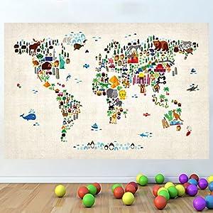 LagunaProject Mapa del mundo de la historieta de los niños de guardería dormitorio pared de vinilo pegatinas cartel -120cm x 80cm