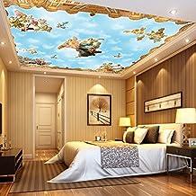 SDKKY 3D de estilo europeo de techo antibacteriana de cielo azul y nubes blancas manchas de humedad papel tapiz el precio máximo por metro cuadrado , el color de la imagen papel pintado